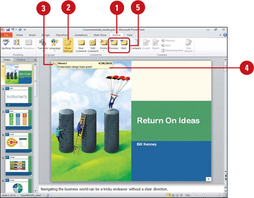 Microsoft PowerPoint 2010 : Adding Comments to a Presentation ...
