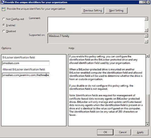 Securing windows server 2008 r2 bitlocker windows server figure 3 configuring an identification field in group policy yadclub Images