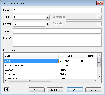 visio displays the attributes of the first data field cost notice that the label field displays cost which is the label that appears in the shape data - Shape Data Visio
