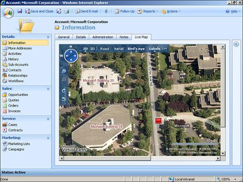 Microsoft Dynamic CRM 4 0 : Microsoft Live Search Maps