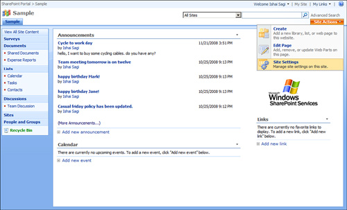 Sharepoint 2007 : Open the Site's Settings Page & Change the Name ...