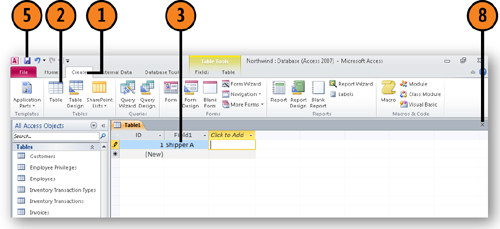 Microsoft access 2010 creating a new table by typing for Table design view in access 2010