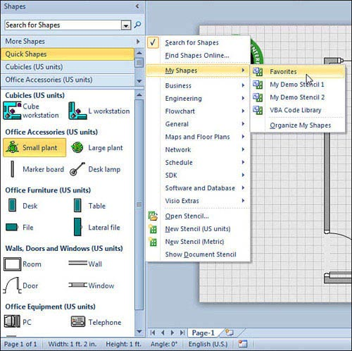 the shapes window for the office layout template and its key elements much improved in visio 2010 - Ms Visio 2010 Key