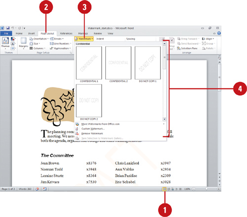 Microsoft word 2010 creating desktop publishing documents add or remove a watermark ccuart Images