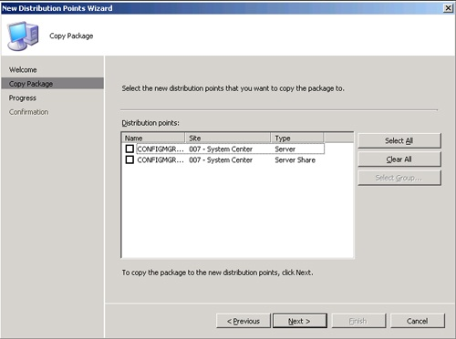 The Copy Package page of the New Distribution Points Wizard