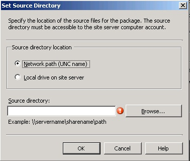 The Set Source Directory dialog box