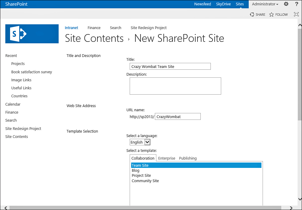 create sharepoint 2013 site