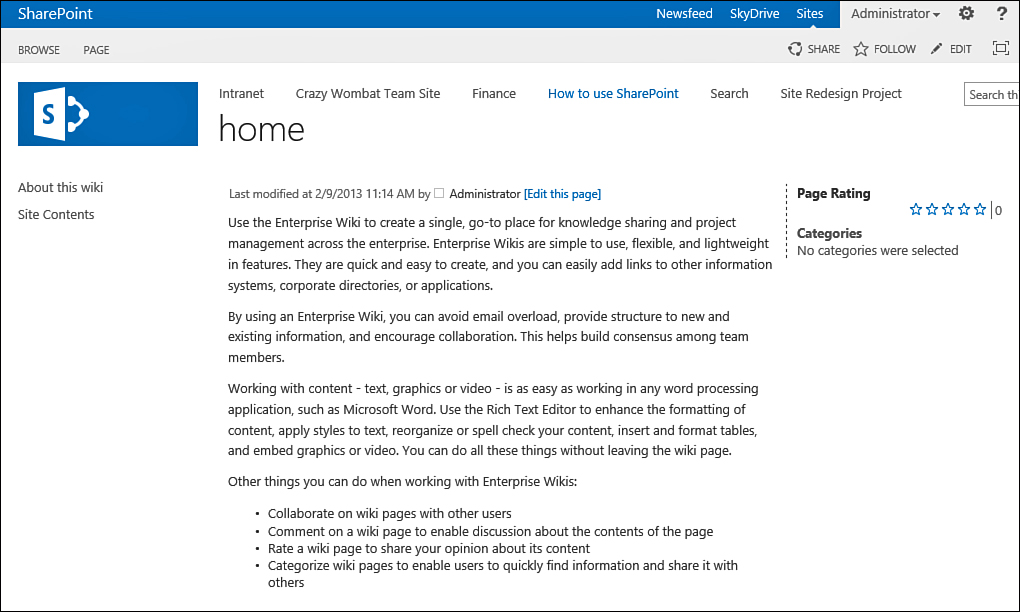 Sharepoint 2013 Create A Team Site Create An Enterprise