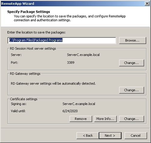 The Specify Package Settings page in the RemoteApp Wizard