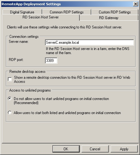 The RemoteApp Deployment Settings dialog box