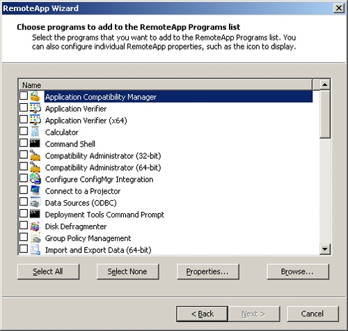 The Choose Programs To Add To The RemoteApp Programs List page