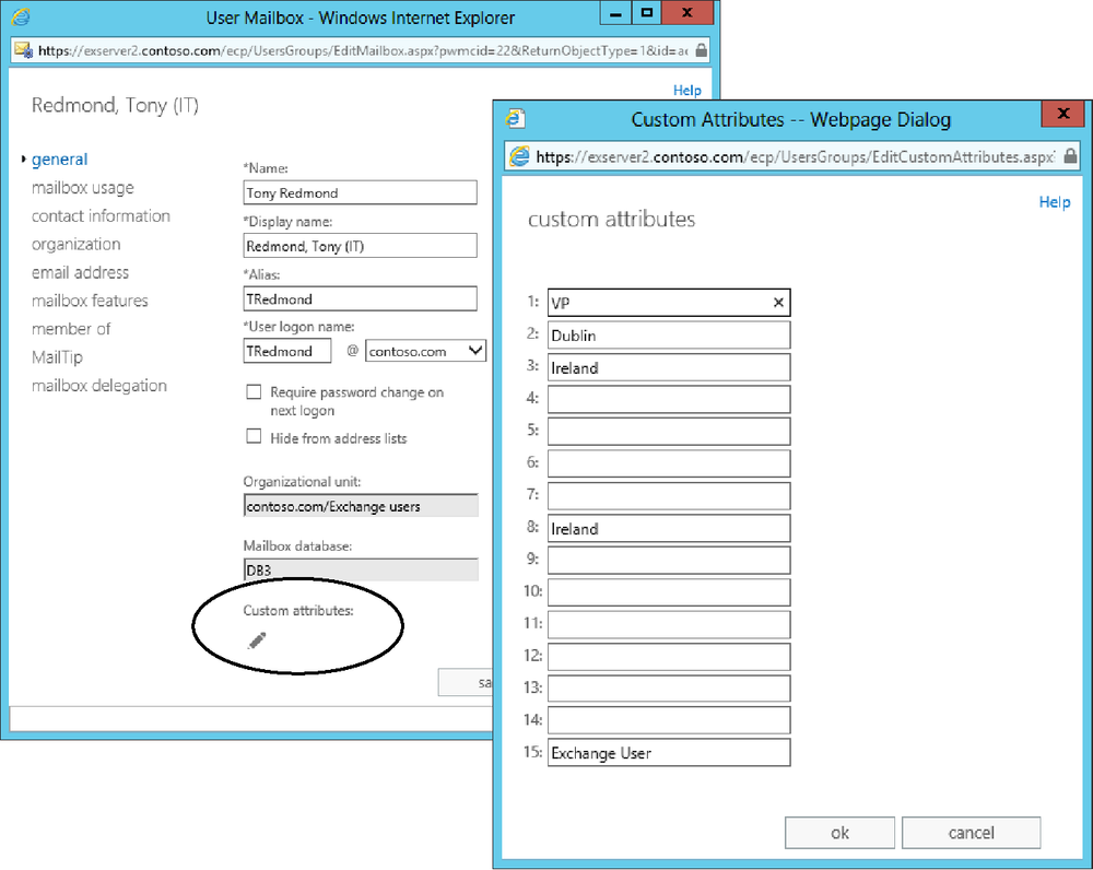 Screen shots showing how to edit the set of 15 custom attributes Exchange makes available for recipients. Access to the attributes is from the General properties (left screen). If you click the pencil icon, Exchange reveals the right-side screen so values can be input for the attributes.