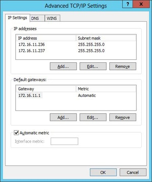 The Advanced TCP/IP Settings dialog box confirms that the second IP address was successfully added to the interface.