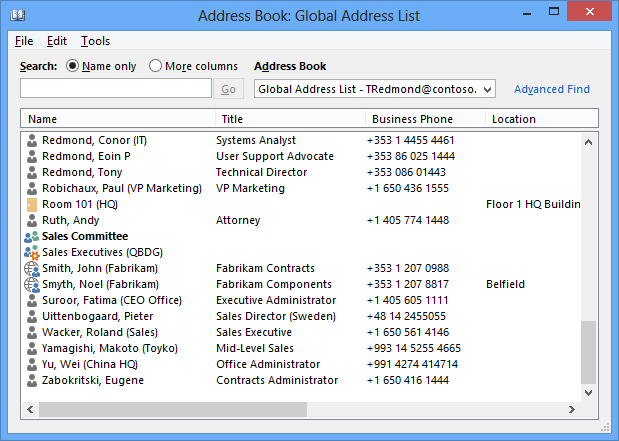 The Global Address List (GAL) as displayed by Outlook to view a set of mailboxes created using the last name, first name convention. Some of the mailboxes have additional information in parentheses to indicate their location or function. For instance, Suroor, Fatima (CEO Office).