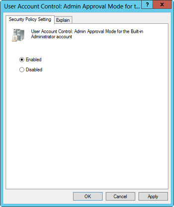 Configure Admin Approval Mode for the built-in Administrator account.